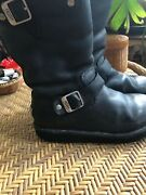 Womens Uggs Winter Shearling Lined Motorcycle Look Black Leather Boots Size 6