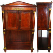 Rare Antique French Napoleon Era 33.5 Table Cabinet Empire Rosewood And Bronze