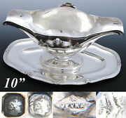 Elegant Antique French Sterling Silver 10 Sauce Or Gravy Boat, Tray, 1832-1840