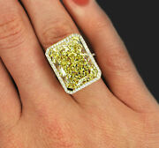 20.38 Center Radiant Fancy Intense Yellow Halo Style Gia Certified Diamond Ring