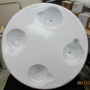 White 20 Round Table Assembly 4 Cupholders - With Post