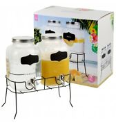 2 X 4 Litre Dual Double Glass Beverage Drinks Dispenser Screw Lid Jugs Tap Stand