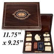 Antique French Boulle Gaming Or Card Playing Box C.1850 Gaming Tokens Cards