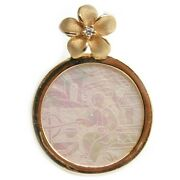 14k Mother Of Pearl Buddhist Monk Circle Pendant With Diamond Flower. 21.5mm