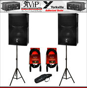 2x Yorkville Ef12p Elite Series 2400w Powered Speakers + Stands + Xlr Cables