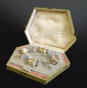 A Cased Of Four Silver Saltandpepper Bowls With Spoons