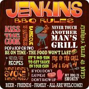 Custom Bbq Rules Sign With Funny Phrases - Outdoor Bbq Signs - Backyard C1415