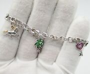 14 Karat White Gold Charm Bracelet With 3 Gold Charms.horsepalm Tree And Key