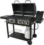 Combo Outdoor Grill Charcoal And Gas Portable Bbq Cooker Dual Fuel Barbeque Black