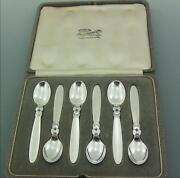 A Set Of Georg Jensen Solid Sterling Silver Cactus Spoons London Import 1933