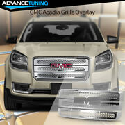 Fits 13-16 Gmc Acadia Denali Style Grille Overlay 3 Bar Front Grill Cover Chrome