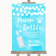 Pale Blue Watercolour Message In A Bottle Wedding Sign Print