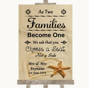 Sand Beach Shell As Families Become One Seating Plan Wedding Sign Print