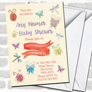Girls Bugs And Insects Baby Shower Invitations