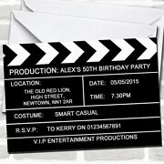 Hollywood Movie Clapboard Clapper Theme Birthday Party Invitations