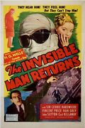 Invisible Man Returns One Sheet Poster Folded R1948 F- See Below For More