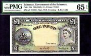 Bahamas P15b Queen Elizabeth Ii 1953nd 1 Pound Pmg 65epq Great Margins Andcolor