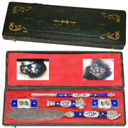 Antique French Silver And Kiln-fired Enamel Pen Set Writerand039s Gift Set Wax Seal +