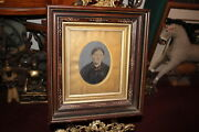Antique Tin Type Photograph Old Woman Victorian Wood Shadow Box Frame Inlay