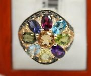 14k Yellow Gold Ring With Multi Color Gem Stones And Chocolate Diamonds. Size 6