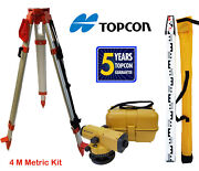 Topcon At-b4a 24x Automatic Level With Tripod And 4 Meter Aluminum Rod