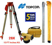 Topcon At-b3a 28x Automatic Level With Tripod And 13 Foot Rod Inches