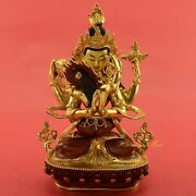 Hand Carved Gold Gilded 9 Chenrezig Shakti Copper With Gold Statue Patan, Nepal