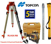 Topcon Rl-h5a Rb Laser Level Plus 13 Foot Dual Tenths/inch Rod And Tripod...