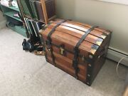 Amazing Large Vintage Wood Oak Or Pine Trunk With Brass Hardware Gorgeous Look