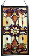 Stained Glass Window Victorian Style, Hand Cut Ripple Glass W/chain, 26h