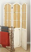 Rustic 3-panel Privacy Screen Room Divider Hinged Vintage Arched Window Panes