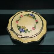 1930's Randg Co Ripley And Gowan Sterling Silver And Guilloche Enamel Powder Compact