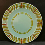Vintage Pacific Pottery Dinner Plate 613 Green Railroad Track Pattern