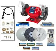 Sealey 6 370w Bench Grinder Polisher And Pro-max 6 Deluxe Metal Polishing Kit