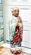 Antique Early 19c Chinese Wood Polichrome Standing On Lotus Monk Statue 40h