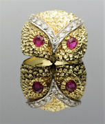 Yellow Gold Ruby And Diamond Owl Ring