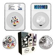 2016 Disney Mickey Through The Ages Andeuro50 Euro 5oz Silver Proof Pf70 First Release