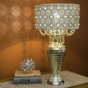 Indoor Modern Jeweled Metal Mosaic Base Table Lamp Cascading Crystal Beige Shade