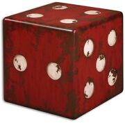 Red Dice Die Cube Accent Table Rustic Wood Distressed Square Game Room Stool