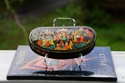 Russian Palekh Lacquer Box The Magic Gold Fish Hand Painted By Belova In Ussr