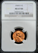 1968-d Lincoln Memorial Cent 1c Ngc Ms67 Red Brilliant Surfaces Pop 16/0