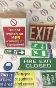 Lot Of Work Signs Exit, Fire Exit, Hardhat Area, Danger, Hot Surfaces
