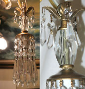Lot Of 4 Vintage Clear Crystal Brass Lamp Chandelier Glass Prisms 35 Long Cord
