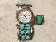 Vintage Turquoise Moore Sterling Band And Lp Ringand039 Seiko Chronograph Tachymeterand039
