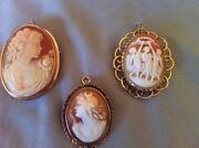 Vintage Victorian Cameo Shell Pin Brooches10kt And K14 Collectible L@@k