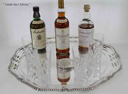 Round Shaped Tray Gadroon Set Of 6 Coasters And Diamond Cut Tumblers