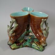Majolica Triple Throated Vase With Stag Heads