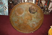 Huge Antique Middle Eastern Arabic Copper Serving Tray Engraved Patterns Scallop