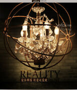 Foucaultand039s Orb Clear K9 Crystal Chandelier 22 Rustic Finish E14 Ceiling Lamp