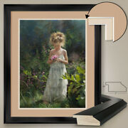 32wx40h Child Picking Flowers By Andrew Jarvis - Double Matte Glass And Frame
